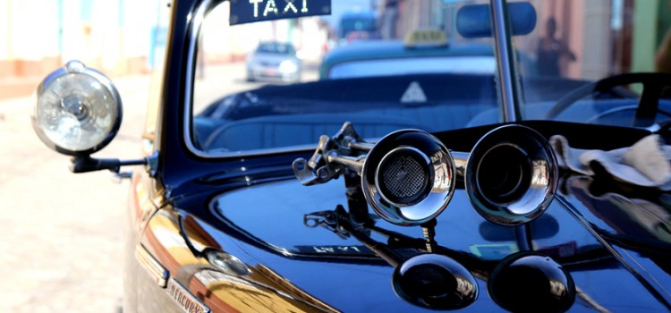 close up picture of a taxi in Cuba