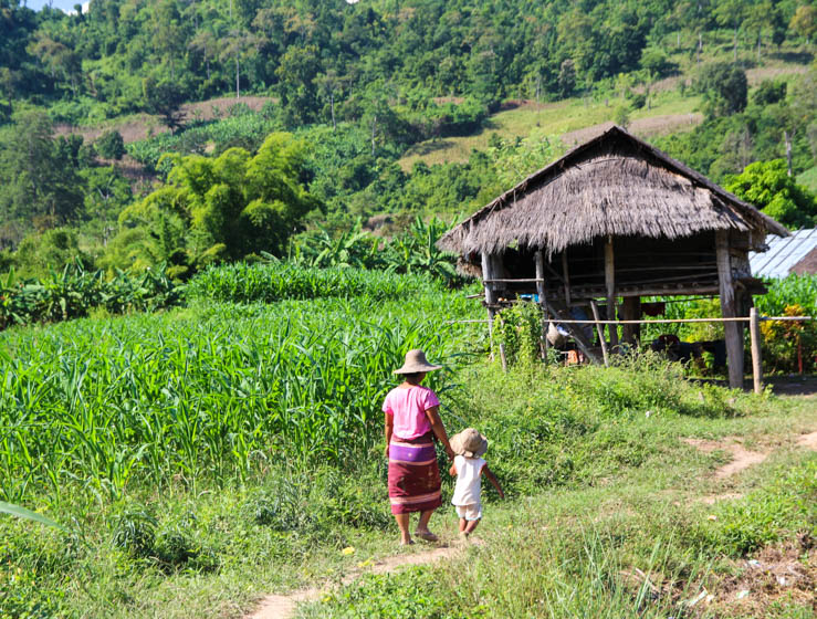 Burmese mother and daughter walking back to their rural thatched hut nestled in corn and rice fields (travel tips for Myanmar)
